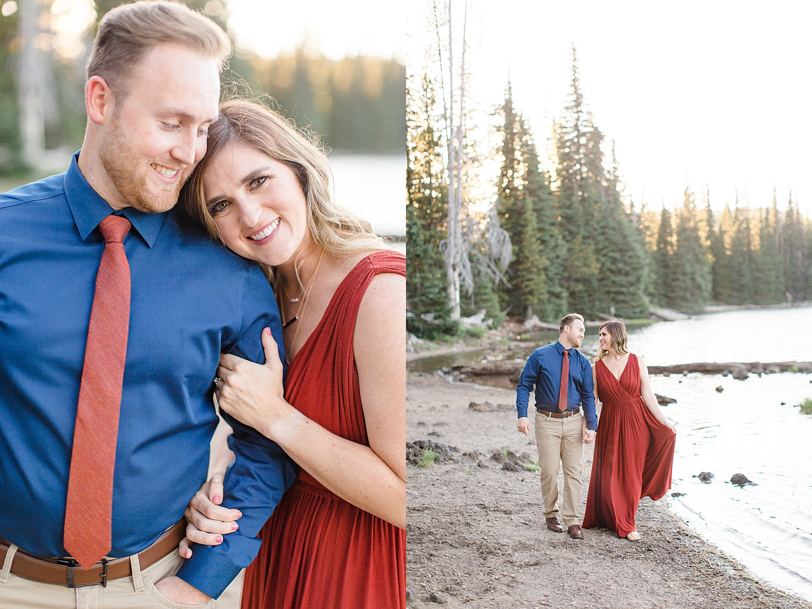 Bend Engagement Session || Bend, Oregon Photographer || Couple Walking by Lake