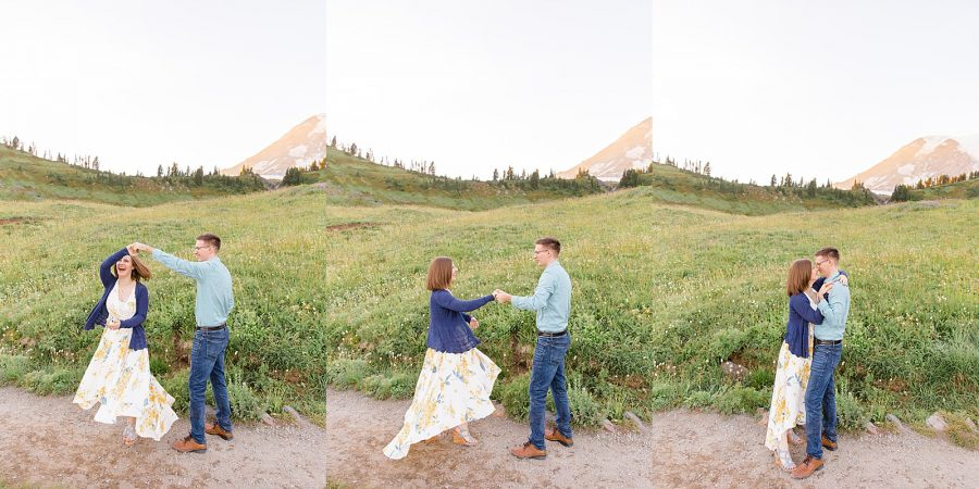 Engagement Session at Mount Rainier - Couple Twirling