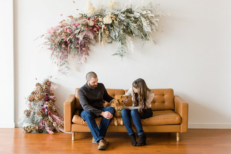 Couple's Session at The Gray Lab - couple sitting on couch with dog
