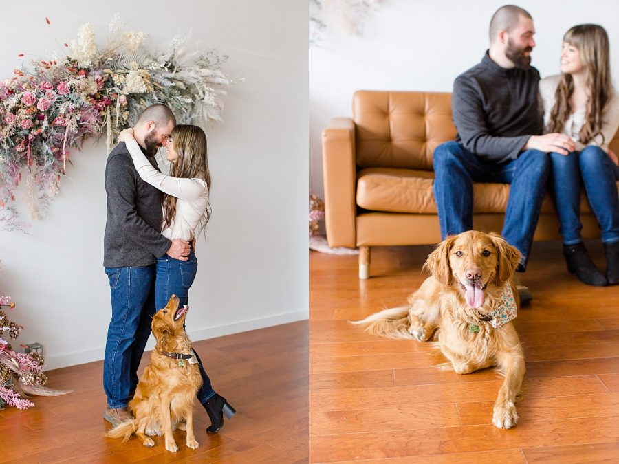 Couple's Session at The Gray Lab - couple and golden retriever