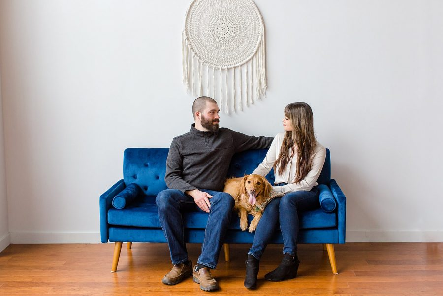 Couple's Session at The Gray Lab - couple sitting on couch with their dog