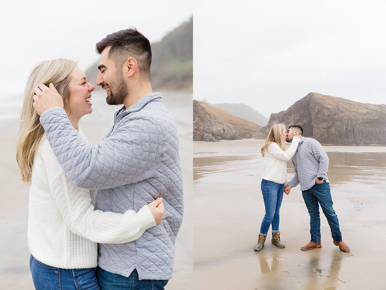 Rebekah Leona Photography | Cape Kiwanda | Beach Photo Session Poses | Oregon Coast Engagement Session