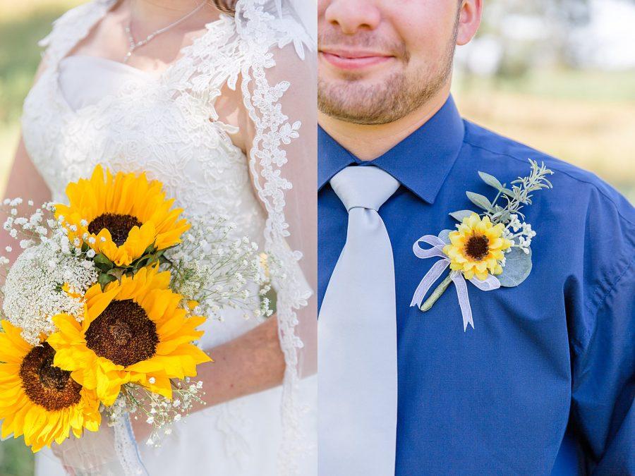 Backyard Wedding Portraits Sunflower Wedding