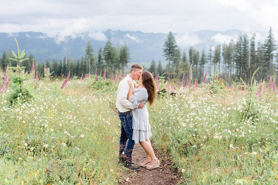 Engagement session with wildflowers