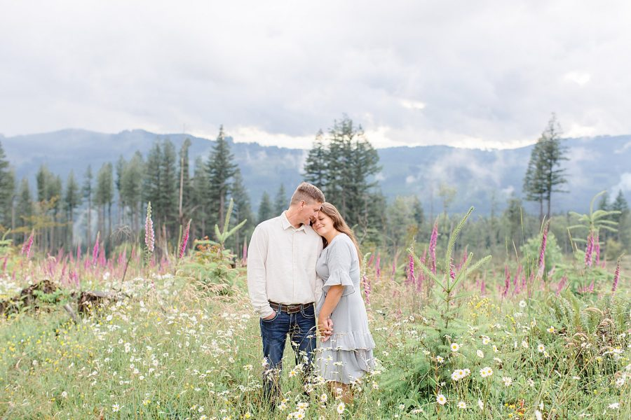 Engagement session with wildflowers in Washington